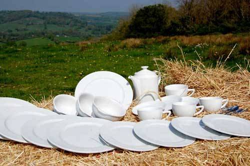 plates and cups outside