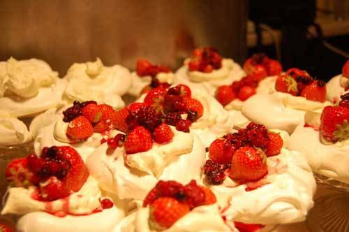 cakes with strawberries on