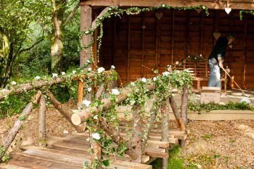 wedding bridge covered in leaves