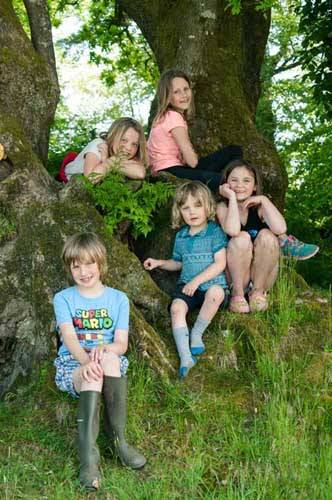 lots of children sitting on a tree covered in moss
