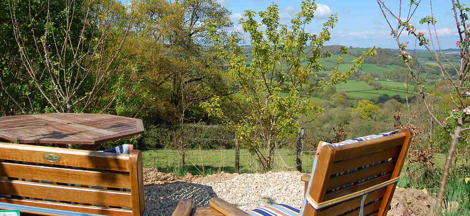 seating area outside glamping pod