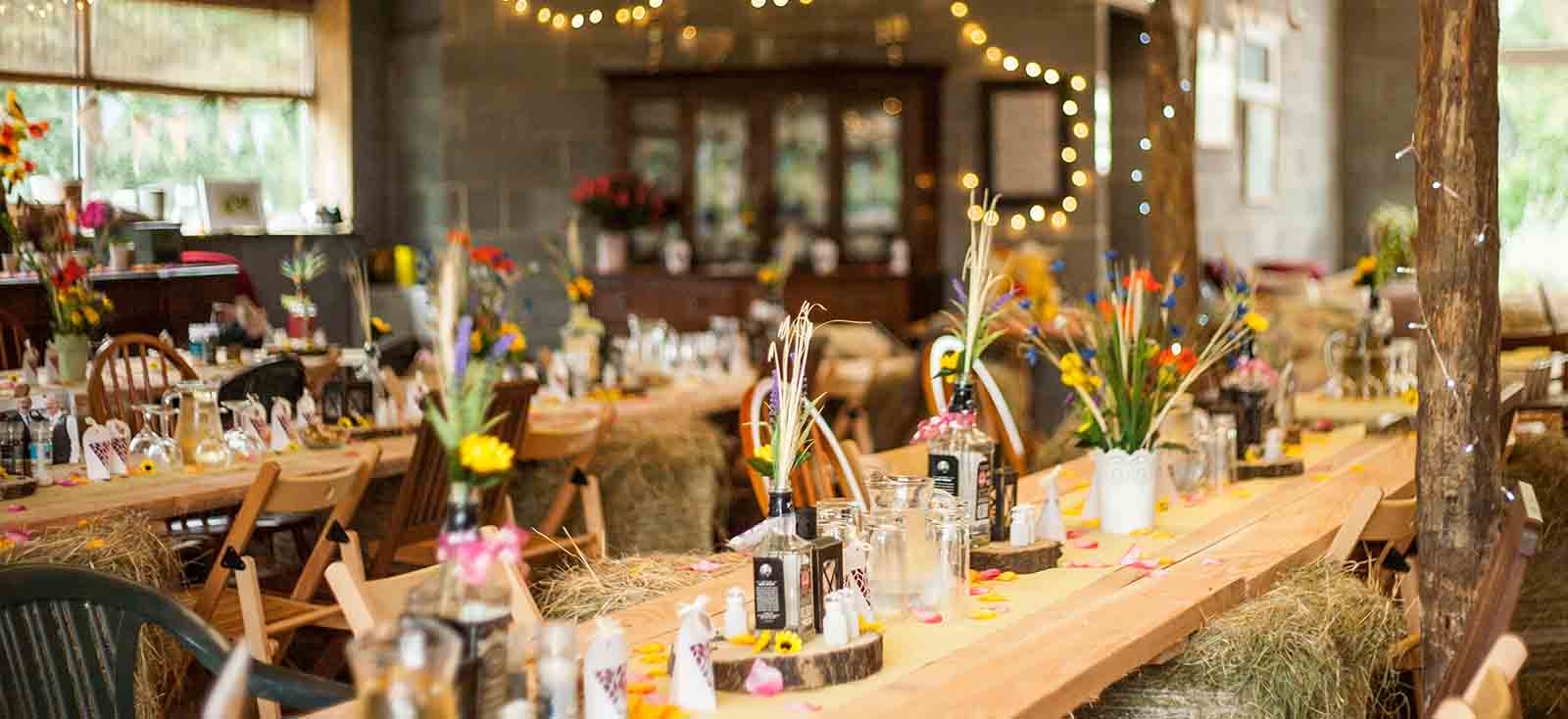 table prepared for wedding breakfast