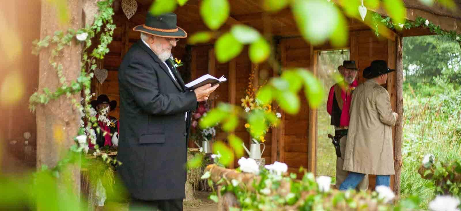 wedding celebrant at wedding pavilion