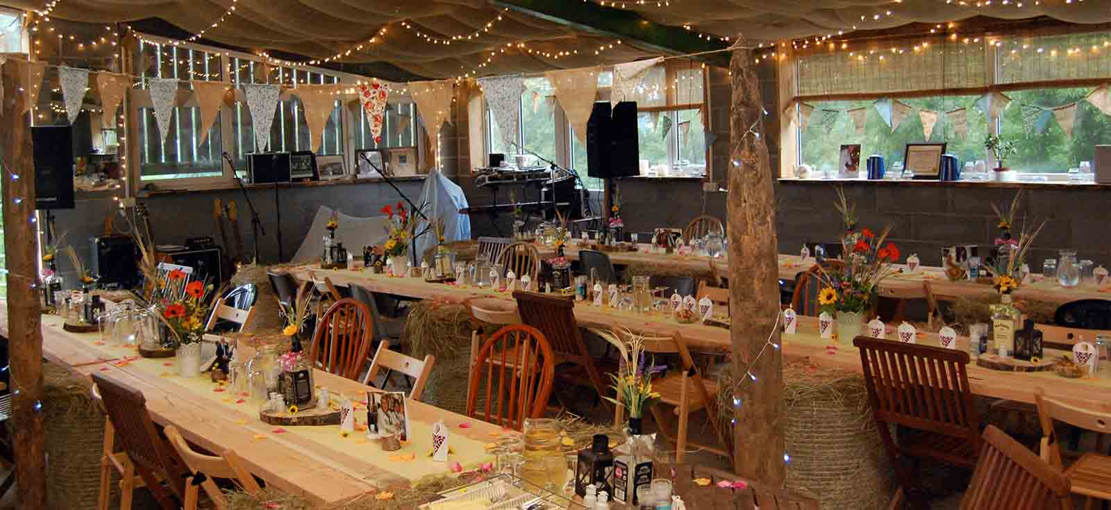 wedding party room with tables laid ready for wedding breakfast